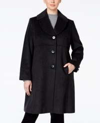 Jones New York Plus Size Empire Waist Wool Blend Walker Coat Charcoal