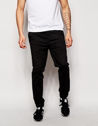 Solid Cuffed Chinos In Straight Fit Black
