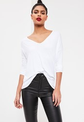 Missguided Long Sleeve Boyfriend V Neck T Shirt White