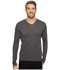 Calvin Klein Long Sleeve Rib V Neck T Shirt Fatigue Men's Clothing Green