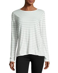 Current Elliott The Long Sleeve Boyfriend T Shirt Dirty White Runaway Stripe White Ptrn