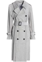 Current Elliott Belted Corduroy Trench Coat Gray