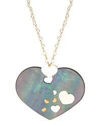 Nanis Black Mother Of Pearl Heart Pendant Necklace