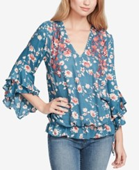 Jessica Simpson Morina Embroidered Top Teal Floral