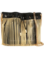 Stella Mccartney 'Falabella' Gold Chain Bucket Shoulder Bag Black