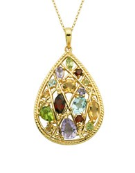 Lord And Taylor Multi Stone Teardrop Pendant Necklace
