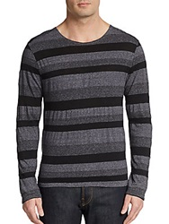 V Room Cachion Slub Cotton And Wool Blend Sweater Black Grey