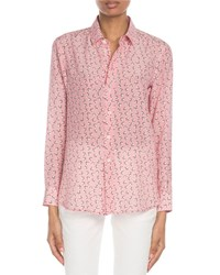 Saint Laurent Star Print Classic Silk Blouse Pink Pattern