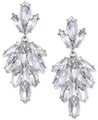 Jewel Badgley Mischka Silver Tone Marquise Crystal Cluster Drop Earrings