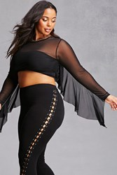 Forever 21 Plus Size Sheer Crop Top Black
