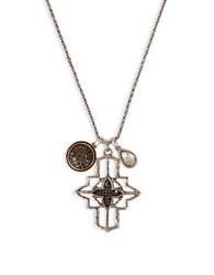 Lucky Brand Rock Crystal Cross Pendant Necklace Multi