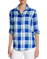 Prive Plaid Half Placket Shirt Blue Turquoise