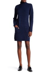 Max Studio Turtleneck Long Sleeve Patch Pocket Sweater Dress Blue