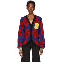 Versace Red And Blue Contrast Pocket Cardigan