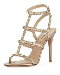 Valentino Garavani Rockstud Metallic Leather 105Mm Sandal Metallic Skin
