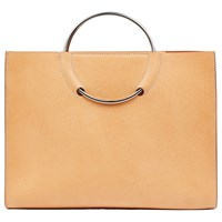 Jaeger Leather Ring Handle Tote Bag Camel