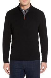 Nordstrom Men's Big And Tall Men's Shop Regular Fit Cashmere Quarter Zip Pullover Black Caviar
