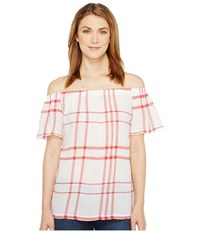 Vince Camuto Off The Shoulder Timeless Plaid Blouse Aurora Red Women's Blouse
