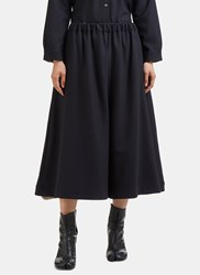 Marvielab Oversized Cropped Wide Double Layered Pants Navy