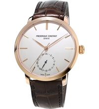 Frederique Constant Fc 710V4s4 Manufacture Slimline Rose Gold Plated And Alligator Leather Watch White