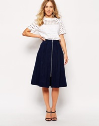 Whistles Denim Zip Through Midi Skirt