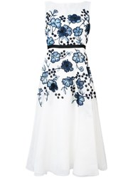 Lela Rose Floral Applique Flared Dress Women Polyester Silk Organza 8 White