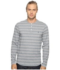 Original Penguin Long Sleeve Marled Striped Henley Monument Men's Long Sleeve Pullover Gray