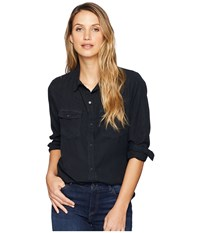 Dylan By True Grit Luxe Laundered Tencel Classic Two Pocket Shirt Vintage Black Clothing