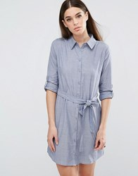 Ax Paris Tie Waist Shirt Dress Chambray Blue