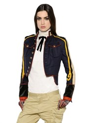 Dsquared2 Cropped Military Style Wool Twill Jacket