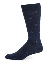 Saks Fifth Avenue Dotted Box Combed Cotton Blend Socks Navy Green