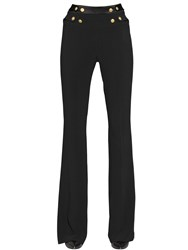 Balmain Stretch Viscose Crepe Flared Pants