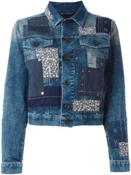 Diesel Patchwork Denim Jacket Blue