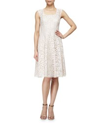 Kay Unger New York Sleeveless Swing Dress With Lace Overlay Bisque
