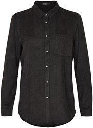 Soaked In Luxury Faux Suede Shirt Black