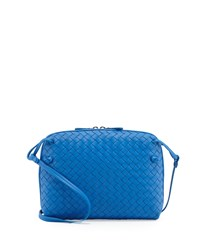 Intrecciato Small Zip Messenger Bag Cobalt Bottega Veneta