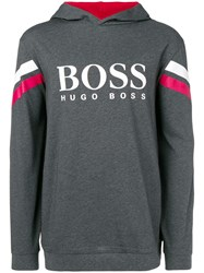 Hugo Boss Logo Hooded Sweatshirt Grey