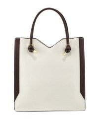 Neiman Marcus Knox Colorblock Tote Bag White Brown