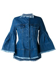 Marques Almeida Marques'almeida Flared Sleeve Denim Jacket Women Cotton S Blue