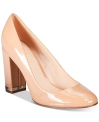 Bar Iii Selena Block Heel Pumps Only At Macy's Women's Shoes Nude
