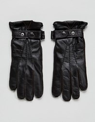 Paul Costelloe Strap Leather Gloves In Brown Brown