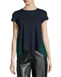 Sacai Short Sleeve Lace Back Top Navy