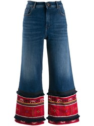 Max Mara Weekend Flared Cropped Denim Jeans Blue