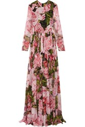 Dolce And Gabbana Floral Print Silk Chiffon Gown Pink