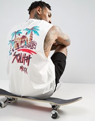 Asos Sleeveless T Shirt With Dropped Armhole And Palm Back Print Off White