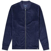 Polo Ralph Lauren Velour Sleepwear Zip Bomber Jacket Blue