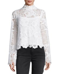 Nanette Lepore Long Sleeve Fluid Floral Lace Top Ivory