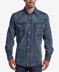 Wrangler Men's Work Western Long Sleeve Shirt Blue