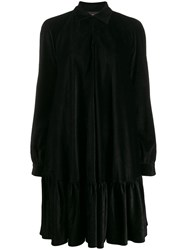 Talbot Runhof Flared Pleated Dress Black