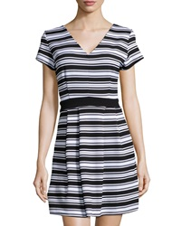 Romeo And Juliet Couture Chevron Pattern Striped Flare Dress Black White